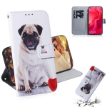Pug Pattern Coloured Drawing Horizontal Flip Leather Case for Huawei Nova 4, with Holder & Card Slots & Wallet
