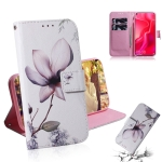 Magnolia Flower Pattern Coloured Drawing Horizontal Flip Leather Case for Huawei Nova 4, with Holder & Card Slots & Wallet