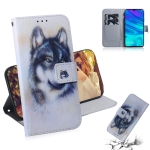 White Wolf Pattern Coloured Drawing Horizontal Flip Leather Case for Huawei P Smart (2019) / Honor 10 Lite, with Holder & Card Slots & Wallet