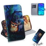 Oil Painting Owl Pattern Coloured Drawing Horizontal Flip Leather Case for Huawei P Smart (2019) / Honor 10 Lite, with Holder & Card Slots & Wallet