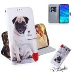 Pug Pattern Coloured Drawing Horizontal Flip Leather Case for Huawei P Smart (2019) / Honor 10 Lite, with Holder & Card Slots & Wallet