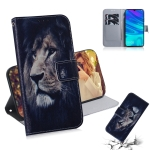 Lion Pattern Coloured Drawing Horizontal Flip Leather Case for Huawei P Smart (2019) / Honor 10 Lite, with Holder & Card Slots & Wallet