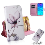 Magnolia Flower Pattern Coloured Drawing Horizontal Flip Leather Case for Huawei P Smart (2019) / Honor 10 Lite, with Holder & Card Slots & Wallet