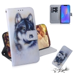 White Wolf Pattern Coloured Drawing Horizontal Flip Leather Case for Huawei P Smart+ 2019 / Nova 3i, with Holder & Card Slots & Wallet