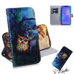 Oil Painting Owl Pattern Coloured Drawing Horizontal Flip Leather Case for Huawei P Smart+ 2019 / Nova 3i, with Holder & Card Slots & Wallet