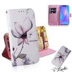 Magnolia Flower Pattern Coloured Drawing Horizontal Flip Leather Case for Huawei P Smart+ 2019 / Nova 3i, with Holder & Card Slots & Wallet
