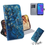 Apricot Flower Pattern Coloured Drawing Horizontal Flip Leather Case for Huawei Y6 (2019), with Holder & Card Slots & Wallet