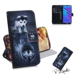 Wolf and Dog Pattern Coloured Drawing Horizontal Flip Leather Case for Huawei Y6 (2019), with Holder & Card Slots & Wallet