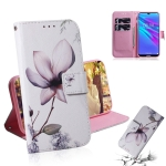 Magnolia Flower Pattern Coloured Drawing Horizontal Flip Leather Case for Huawei Y6 (2019), with Holder & Card Slots & Wallet