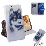 White Wolf Pattern Coloured Drawing Horizontal Flip Leather Case for Huawei Y7 Prime (2019) / Y7 Pro (2019) / Enjoy 9, with Holder & Card Slots & Wallet