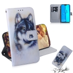 White Wolf Pattern Coloured Drawing Horizontal Flip Leather Case for Huawei Y9 (2019) / Enjoy 9 Plus, with Holder & Card Slots & Wallet