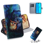 Oil Painting Owl Pattern Coloured Drawing Horizontal Flip Leather Case for Huawei Y9 (2019) / Enjoy 9 Plus, with Holder & Card Slots & Wallet
