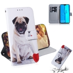 Pug Pattern Coloured Drawing Horizontal Flip Leather Case for Huawei Y9 (2019) / Enjoy 9 Plus, with Holder & Card Slots & Wallet