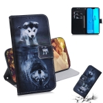 Wolf and Dog Pattern Coloured Drawing Horizontal Flip Leather Case for Huawei Y9 (2019) / Enjoy 9 Plus, with Holder & Card Slots & Wallet