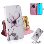 Magnolia Flower Pattern Coloured Drawing Horizontal Flip Leather Case for Huawei Y9 (2019) / Enjoy 9 Plus, with Holder & Card Slots & Wallet