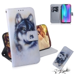 White Wolf Pattern Coloured Drawing Horizontal Flip Leather Case for Huawei Honor 8C, with Holder & Card Slots & Wallet