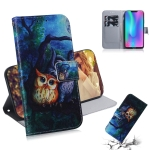 Oil Painting Owl Pattern Coloured Drawing Horizontal Flip Leather Case for Huawei Honor 8C, with Holder & Card Slots & Wallet