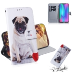 Pug Pattern Coloured Drawing Horizontal Flip Leather Case for Huawei Honor 8C, with Holder & Card Slots & Wallet