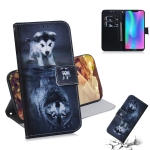 Wolf and Dog Pattern Coloured Drawing Horizontal Flip Leather Case for Huawei Honor 8C, with Holder & Card Slots & Wallet