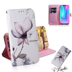 Magnolia Flower Pattern Coloured Drawing Horizontal Flip Leather Case for Huawei Honor 8C, with Holder & Card Slots & Wallet