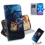 Oil Painting Owl Pattern Coloured Drawing Horizontal Flip Leather Case for Huawei Honor 8X, with Holder & Card Slots & Wallet