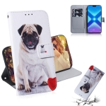 Pug Pattern Coloured Drawing Horizontal Flip Leather Case for Huawei Honor 8X, with Holder & Card Slots & Wallet