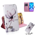 Magnolia Flower Pattern Coloured Drawing Horizontal Flip Leather Case for Huawei Honor 8X, with Holder & Card Slots & Wallet