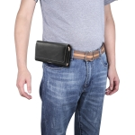 Men Lambskin Texture Multi-functional Universal Mobile Phone Waist Pack Leather Case for 6.9 Inch or Below Smartphones(Black)