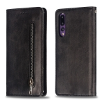 Calf Texture Zipper Magnetic Horizontal Flip Leather Case for Huawei P20 Pro, with Wallet & Holder & Card Slots (Black)