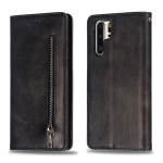 Calf Texture Zipper Magnetic Horizontal Flip Leather Case for Huawei P30 Pro, with Wallet & Holder & Card Slots (Black)
