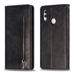 Calf Texture Zipper Magnetic Horizontal Flip Leather Case for Huawei Honor 10 Lite, with Wallet & Holder & Card Slots (Black)