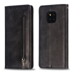 Calf Texture Zipper Magnetic Horizontal Flip Leather Case for Huawei Mate 20 Pro, with Wallet & Holder & Card Slots (Black)