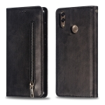 Calf Texture Zipper Magnetic Horizontal Flip Leather Case for Huawei Y7 (2019), with Wallet & Holder & Card Slots (Black)