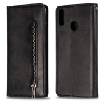 Calf Texture Zipper Magnetic Horizontal Flip Leather Case for Huawei Y9 (2019) / Enjoy 9 Plus, with Wallet & Holder & Card Slots (Black)