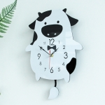 Creative Home Office Bedroom Decoration Cow Swing Acrylic Wall Clock (Black)