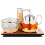 Automatic Add Water Full Intelligent Electric Glass Kettle Steam Boiled Tea Stove Set (Gold)