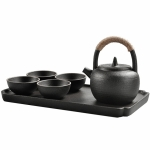 Portable Travel Ceramics Loop Handle Pot Teapot Teacup Set with Tea Tray (Black)