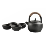 Portable Travel Ceramics Loop Handle Pot Teapot Teacup Set (Black)