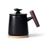 Portable Office Ceramic Mug Filter Teacup with Cover (Black)