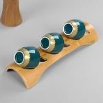 Portable Bamboo Hollowing Kung Fu Tea Set Tea Cup Holder Drainage Rack