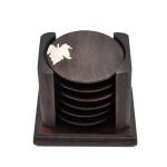 Retro Solid Wood Black Sandalwood Tea Cup Cushion Set