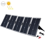 HAWEEL 5 PCS 20W Monocrystalline Silicon Solar Power Panel Charger, with USB Port & Holder & Tiger Clip, Support QC3.0 and AFC (Black)
