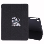 Embroidery Pattern Silk Texture Horizontal Flip Leather Case for iPad 9.7 / Air 2 / Air, with Three-folding Holder & Sleep / Wake-up Function(Black)