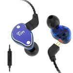 TRN V60 Hybrid In Ear Earphone Monitor Running Sport HiFi Headset with Detachable 2Pin Connection, with Mic (Blue)