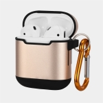 Metal Two-tone Wireless Earphones Charging Box Protective Case for Apple AirPods (Gold)