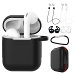 7 PCS Wireless Earphones Shockproof Silicone Protective Case for Apple AirPods 2 (Black White)