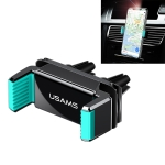 USAMS US-ZJ045 Rotating Air Outlet Double Buckle Car Bracket for 4-6 inch Mobile Phones, with Cable Clamp (Black+green)