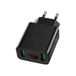 CYKE HKL-USB39 11W 5V / 2.2A Dual USB Travel Charger with Smart Digital Display, EU Plug (Black)
