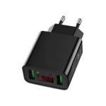 CYKE HKL-USB39 11W 5V / 2.2A Dual USB Travel Charger with Smart Digital Display, EU Plug (Black)