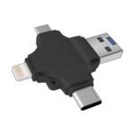 4 in 1 USB 2.0 & Micro USB & USB-C / Type-C & 8 Pin TF Card Reader(Black)